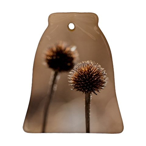 Withered Globe Thistle In Autumn Macro Bell Ornament (2 Sides)