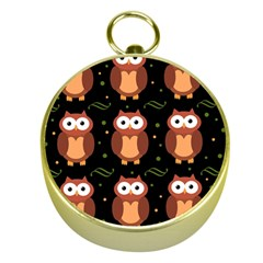 Halloween Brown Owls  Gold Compasses
