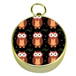 Halloween brown owls  Gold Compasses Front