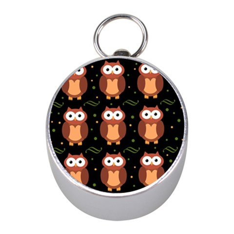 Halloween brown owls  Mini Silver Compasses