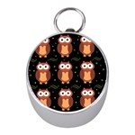 Halloween brown owls  Mini Silver Compasses Front
