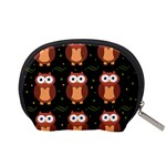 Halloween brown owls  Accessory Pouches (Small)  Back