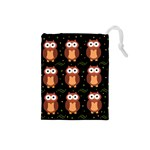 Halloween brown owls  Drawstring Pouches (Small)  Front