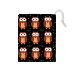 Halloween brown owls  Drawstring Pouches (Medium)  Front