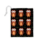 Halloween brown owls  Drawstring Pouches (Medium)  Back