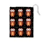 Halloween brown owls  Drawstring Pouches (Large)  Front