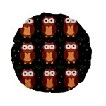 Halloween brown owls  Standard 15  Premium Flano Round Cushions Front