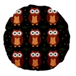 Halloween brown owls  Large 18  Premium Flano Round Cushions Front