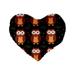 Halloween Brown Owls  Standard 16  Premium Flano Heart Shape Cushions