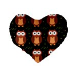 Halloween brown owls  Standard 16  Premium Flano Heart Shape Cushions Back