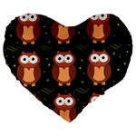 Halloween brown owls  Large 19  Premium Flano Heart Shape Cushions Front