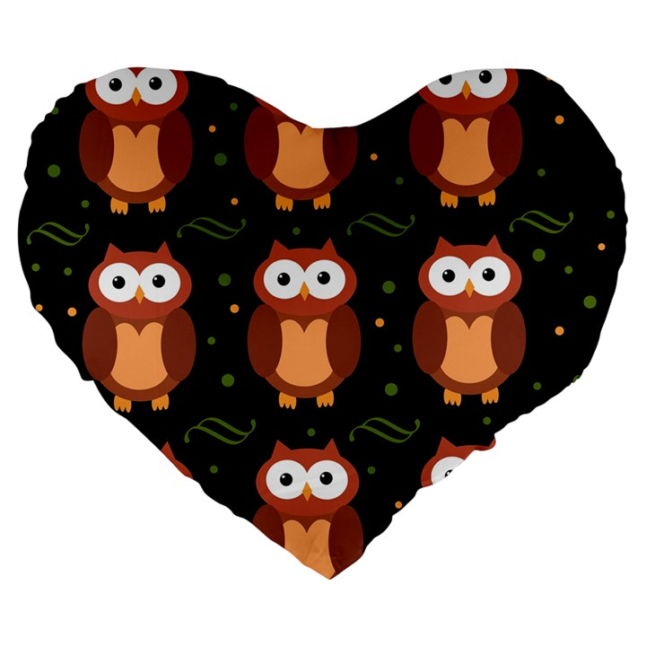 Halloween brown owls  Large 19  Premium Flano Heart Shape Cushions