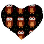 Halloween brown owls  Large 19  Premium Flano Heart Shape Cushions Back