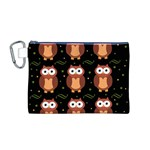 Halloween brown owls  Canvas Cosmetic Bag (M) Front