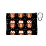 Halloween brown owls  Canvas Cosmetic Bag (M) Back