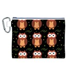 Halloween brown owls  Canvas Cosmetic Bag (L) Front
