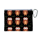Halloween brown owls  Canvas Cosmetic Bag (L) Back