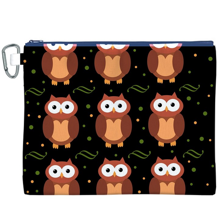 Halloween brown owls  Canvas Cosmetic Bag (XXXL)