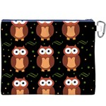 Halloween brown owls  Canvas Cosmetic Bag (XXXL) Back