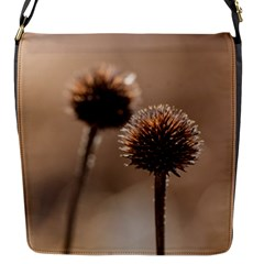Withered Globe Thistle In Autumn Macro Flap Messenger Bag (S)