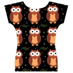 Halloween brown owls  Women s V-Neck Cap Sleeve Top Back