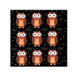 Halloween brown owls  Small Satin Scarf (Square) Front