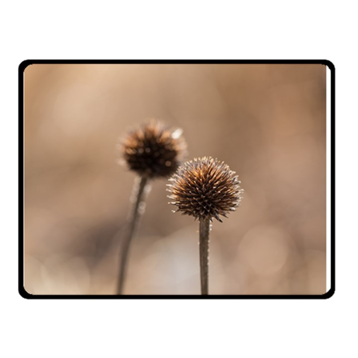 Withered Globe Thistle In Autumn Macro Double Sided Fleece Blanket (Small)