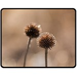 Withered Globe Thistle In Autumn Macro Double Sided Fleece Blanket (Medium)  60 x50 Blanket Back