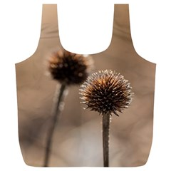 Withered Globe Thistle In Autumn Macro Full Print Recycle Bags (l)