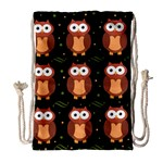 Halloween brown owls  Drawstring Bag (Large) Front