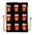 Halloween brown owls  Drawstring Bag (Large) Back