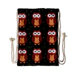 Halloween brown owls  Drawstring Bag (Small) Back