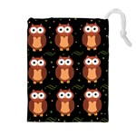Halloween brown owls  Drawstring Pouches (Extra Large) Front