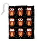 Halloween brown owls  Drawstring Pouches (Extra Large) Back