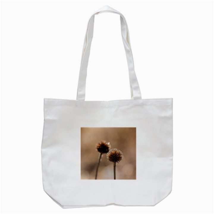 Withered Globe Thistle In Autumn Macro Tote Bag (White)