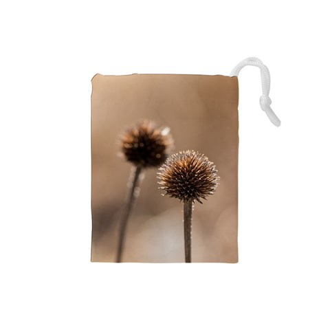 Withered Globe Thistle In Autumn Macro Drawstring Pouches (Small)