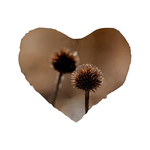 Withered Globe Thistle In Autumn Macro Standard 16  Premium Flano Heart Shape Cushions