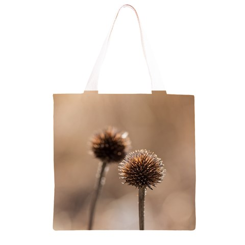 Withered Globe Thistle In Autumn Macro Grocery Light Tote Bag