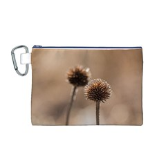 Withered Globe Thistle In Autumn Macro Canvas Cosmetic Bag (m)