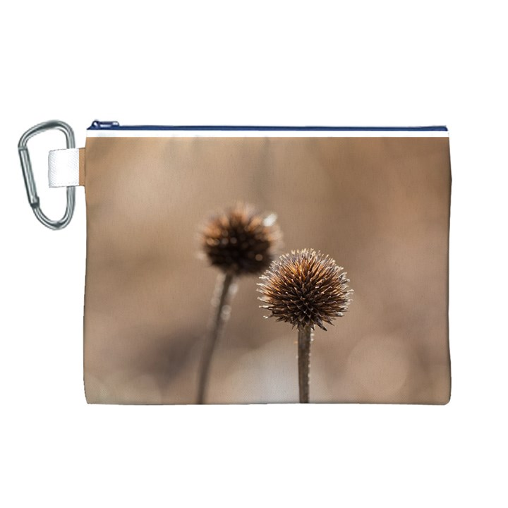 Withered Globe Thistle In Autumn Macro Canvas Cosmetic Bag (L)