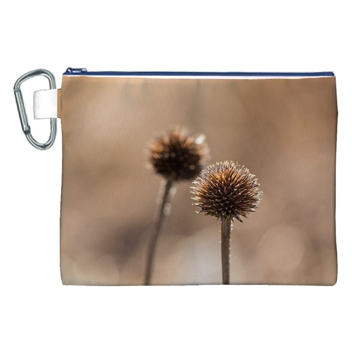 Withered Globe Thistle In Autumn Macro Canvas Cosmetic Bag (XXL)
