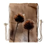 Withered Globe Thistle In Autumn Macro Drawstring Bag (Large) Front