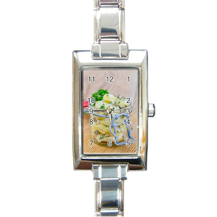 Potato salad in a jar on wooden Rectangle Italian Charm Watch