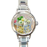 Potato salad in a jar on wooden Round Italian Charm Watch Front