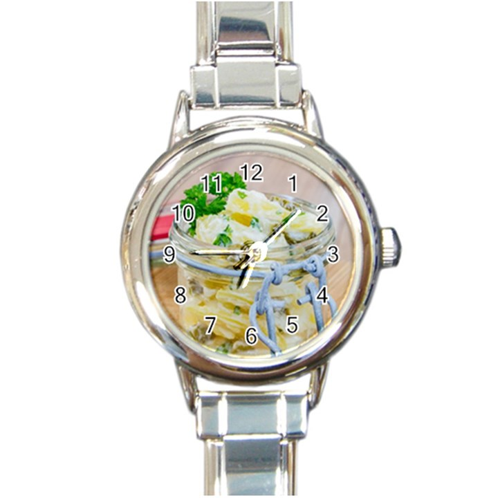 Potato salad in a jar on wooden Round Italian Charm Watch
