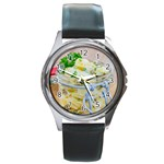 Potato salad in a jar on wooden Round Metal Watch Front