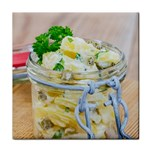 Potato salad in a jar on wooden Tile Coasters Front