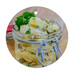 Potato salad in a jar on wooden Ornament (Round)  Front