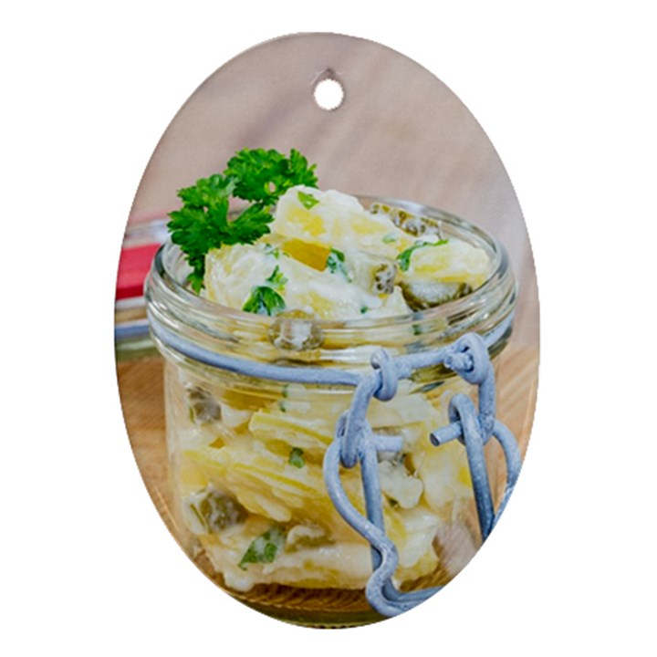 Potato salad in a jar on wooden Ornament (Oval)