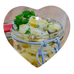 Potato salad in a jar on wooden Ornament (Heart)